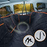 iBuddy Dog Car Seat Cover for Back Seat of Cars/Trucks/SUV, Waterproof Dog Hammock for Back Seat with Mesh Window,Side Flap and Dog Seat Belt Pet Seat Cover