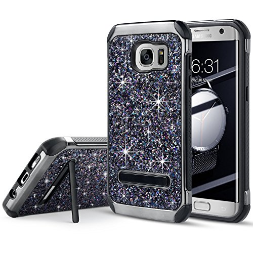 ung Galaxy S7 Edge, Luxury Glitter Bling Hybrid Slim Hard Cover with Sparkle Shiny Faux Leather Chrome Rugged Shockproof Bumper Dirtproof Protective Case, Black ()