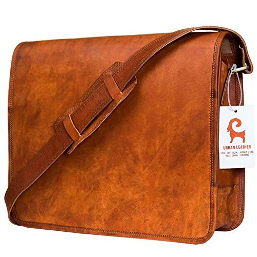 Satchel Style Shoulder Bag - Urban Leather Mens Shoulder Bag - Satchel Messenger Bag for Men and Women - Office Executive Laptop Bag Work Classic Style Vintage Brown Book Bag - New Job Gifts for Promotion to Boy Friend, Size 15.5