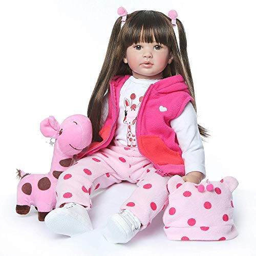 ZIYIUI Toddler Reborn Doll 24-inch Soft Silicone Brown Long-haired Girl Reborn Doll Mohair for Reborn Dolls Christmas Birthday Gifts