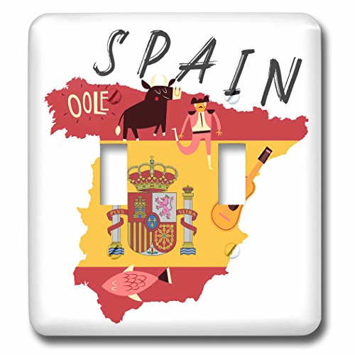 3dRose TNMGraphics Countries - Map of Spain With Flag and Icons - Light Switch Covers - double toggle switch (lsp_286294_2) by 3dRose