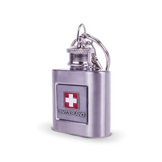 Topspirit® Mini Petaca Plata Switzerland con Llavero de ...