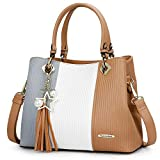 Handbags for Women, PU Leather Handbag in Pretty Colors Combination (Grey/White/Khaki)