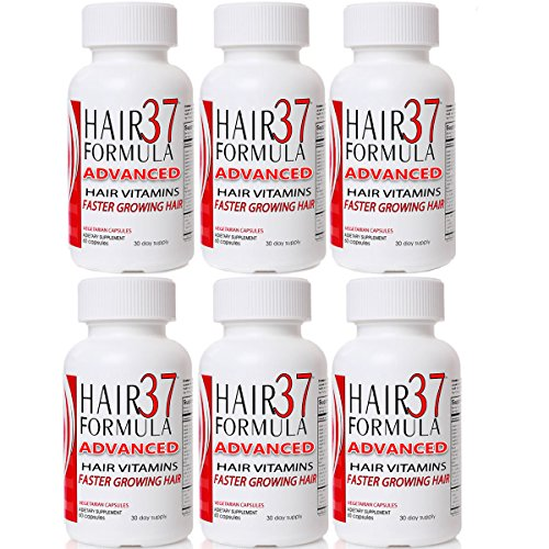 6 Pack Hair Vitamins for Fast Hair Growth Hair Formula 37 Advanced Best Value on Vitamins for Hair Skin Nails by Hair Formula 37