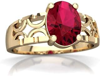 Diastar Art Déco et de fiançailles Bague de Mariage pour Femme 1.20CT en Forme de Ovale Rubis Fini Or Jaune 14K