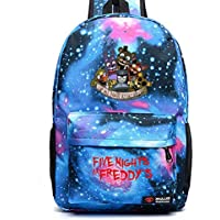 Five Nights at Freddy's Backpack FNAF Bag Chica Foxy Freddy School Shoulder Bag Star Blue