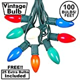 100 Foot C9 Multi Ceramic Christmas String Light Set - Outdoor Christmas Light String - Christmas Tree Lights - Opaque Christmas Bulbs - Roofline Light String - Outdoor String Lights - Green Wire