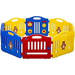 Baby Playpen Kids Playpen Baby Play Yards Fence 8 Panel Activity Centre Safety Play Yard Home Indoor with Gate for Boy Girls