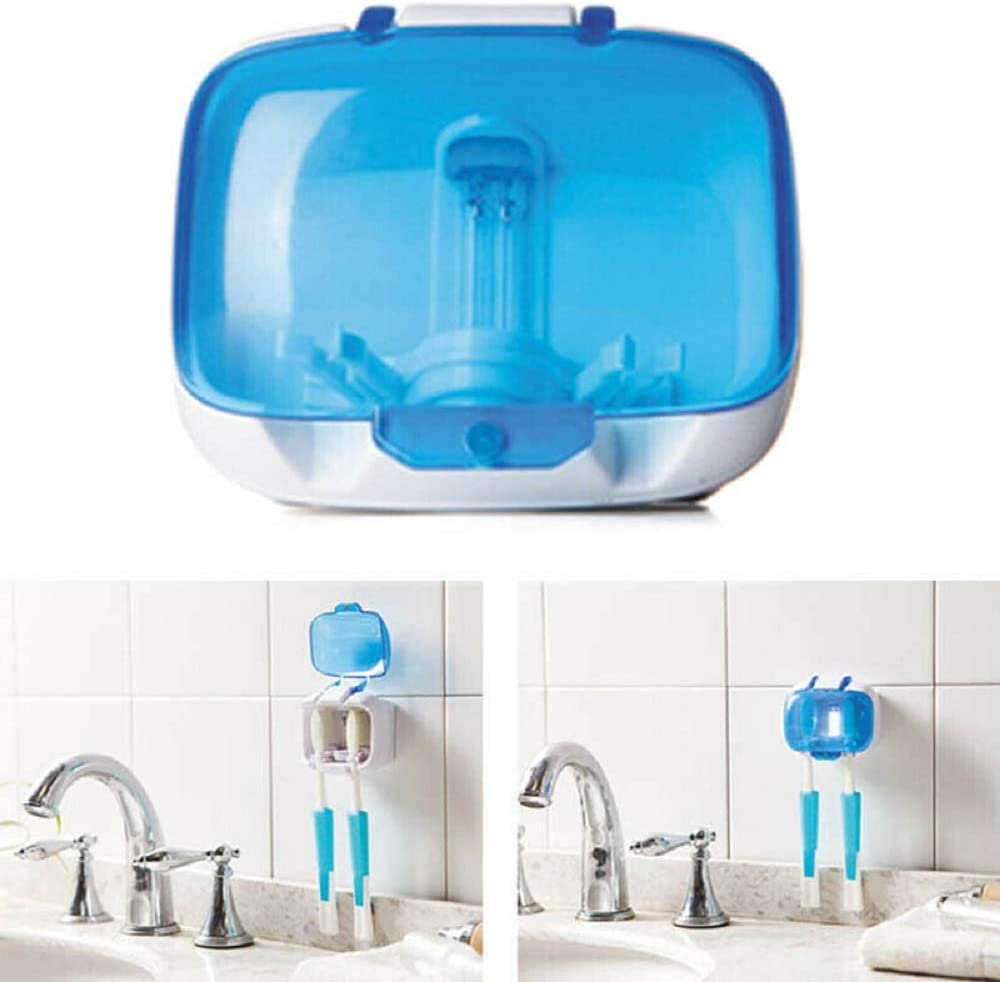 XINGX Toothbrush Sterilizer Holder,UV Toothbrush Sterilizer,Wall Mount Tooth Brush Stand With Cover And Ultraviolet Lights Suit For Home Travel
