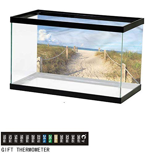 bybyhome Fish Tank Backdrop Beach,Sandy Beach Entry Fence Miami,Aquarium Background,30