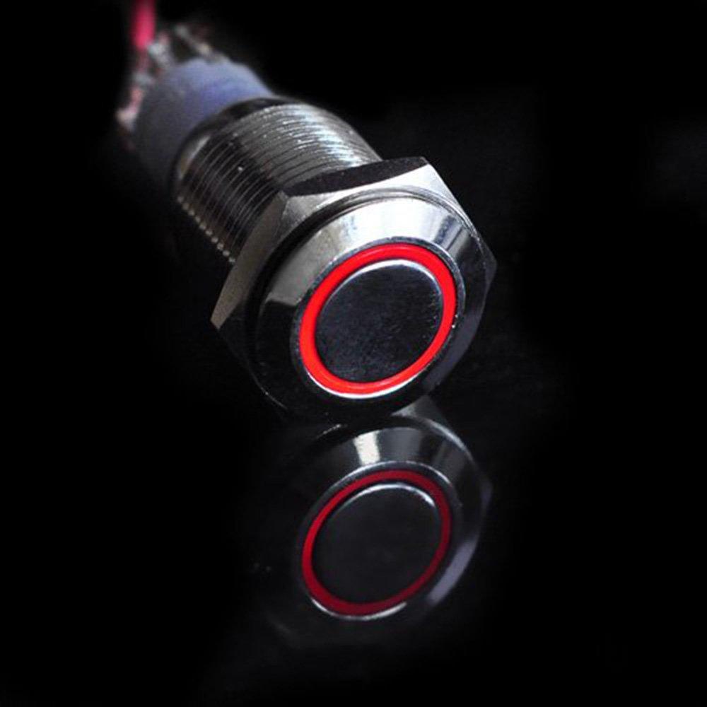 HOTSYSTEM 3x16mm 12V Metall Reset Taster LED Beleuchtet Drucktaster Druckknopf f/ür Auto KFZ Gr/ün