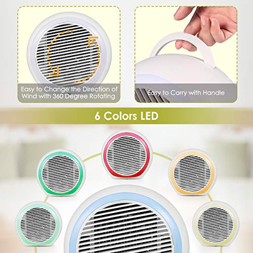 Personal Air Conditioner, Air Personal Space Cooler with Humidifier and Air Purifier USB Mini Portable, Quick Easy Way to Cool Any Space with LED Lights