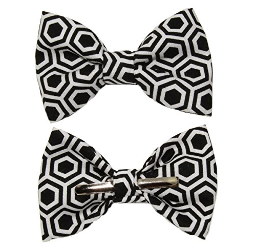 Boys Black/White Geometrical Clip On Cotton Bow Tie by amy2004marie