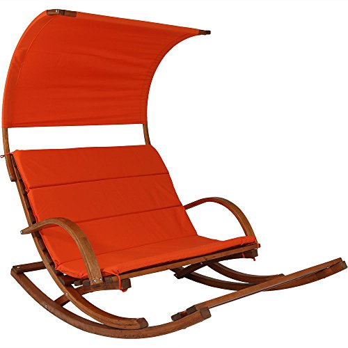 Sunnydaze Outdoor 2 Person Wooden Rocking Cushioned Loveseat with Foot Rest and Canopy, Burnt Orange