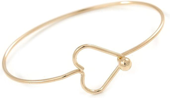 Avalaya Delicado tono dorado pulsera delgada con cierre de corazón abierto, 18 cm de largo: Amazon.es: Joyería