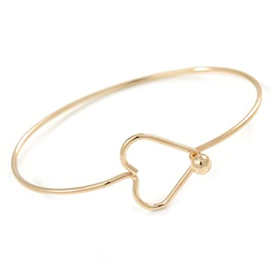 Avalaya Open Heart Textured Slim Gold Plated Cuff Bracelet - Adjustable ATyCkH
