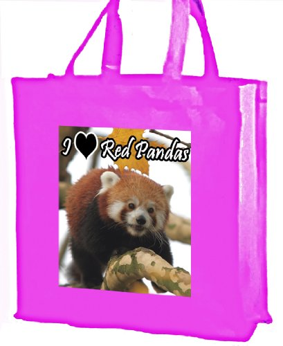 I Love Red Pandas, Panda rosso, cotone shopping bag rosa
