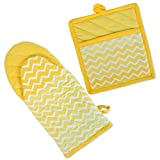 "DII Cotton Ombre Chevron Oven Mitt 13 x 6"" and Pot Holder 8 x 9"" Kitchen Gift Set, Machine Washable and Heat Resistant for Cooking and Baking-Yellow"