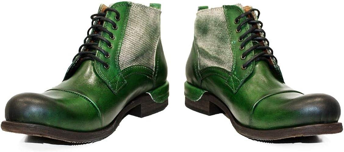 PeppeShoes Modello Pescara Handgemachtes Italienisch Bunte Herrenschuhe Lederschuhe Herren Grün Stiefel Stiefeletten Rindsleder Handgemalte Leder