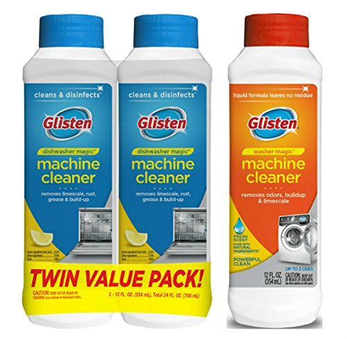 Glisten Dishwasher Magic Machine Cleaner and Disinfectant 2-Pack and Washer Magic Washing Machine Cleaner