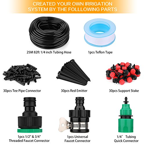 """Youngneer Automatic Drip Irrigation Kits Plant Watering System with 82FT 1/4"""" Tubing Hose 30 PCS Emitters Greenhouse Patio Garden Flower Bed DIY Self Irrigation System by Youngneer (Image #1)"""