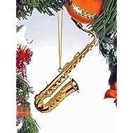 5 Gold Tenor Saxophone Ornament