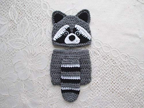 Baby Raccoon Crochet Hat and Diaper Cover Set - Baby Photo Prop - Baby Shower Gift - Available in 0 to 24 Months -