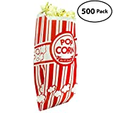 popcorn bags 500 - Popcorn Bags Coated for Leak/Tear Resistance. Single Serving 1oz Paper Sleeves in Nostalgic Red/White Design. Great Movie Theme Party Supplies or for Old Fashioned Carnivals & Fundraisers! (500)