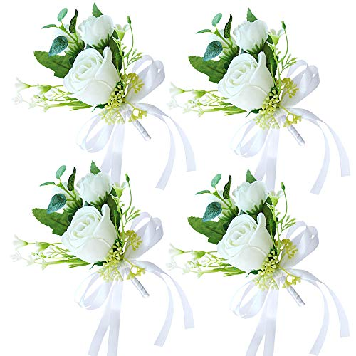 HiiARug White Boutonniere for Men Wedding Groom Flower Boutonniere with Pins Set of 4 for Wedding Party Prom Man Suit Decoration (Boutonniere White 4pcs)