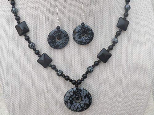 On Sale! 28.5 Inch Snowflake Obsidian Donut Necklace and Earrings Onyx, Sterling Silver Ear Wires and Clasp - Obsidian Onyx Earrings