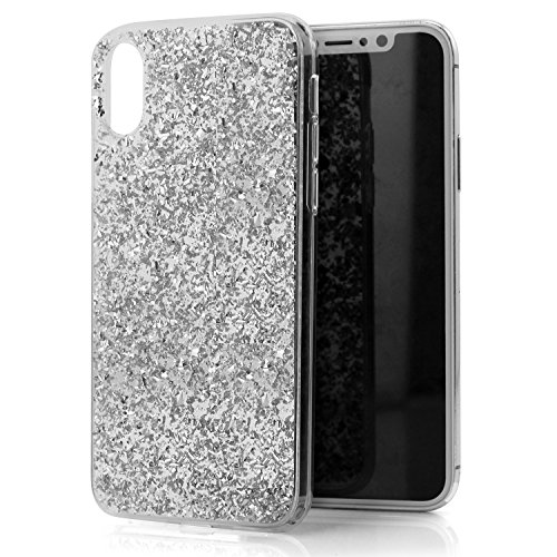iPhone Xs/X Case, Luvvitt Brilliance Cover with Fashion Glitter Cute Design for Women Girls Teens for Apple iPhone Xs/X (2017-2018) - Silver
