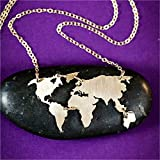 World Map Necklace | Fashion Jewelry Necklace World Map Earth Day Necklace |