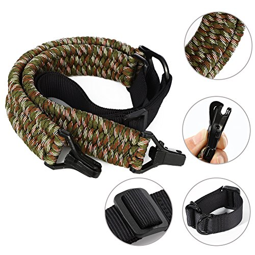 (Mounchain Rifle Sling - Gun Sling Strap with 850LB Paracord Length Adjuster Buttstock Attachment Kit for Hunting Shooting (Army Green Camo))