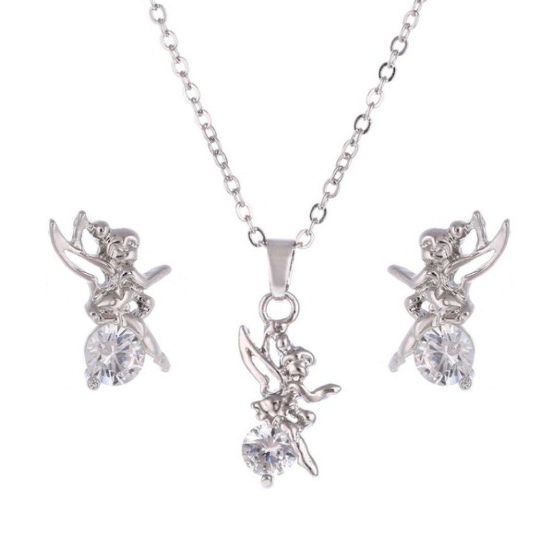 Tinkerbell Ohrringe Elfe Silber /& Kristall