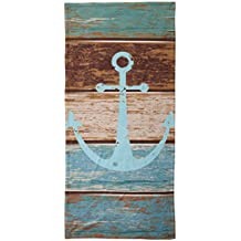 Vipsung Microfiber Ultra Soft Hand Towel-Nautical Decor Anchor Rustic Wooden Planks Marine Maritime Sea Ocean Coastal Antiqued Aged Decor Digital Print Fashion Art Work Teal Khaki Br For Hotel Spa Bea