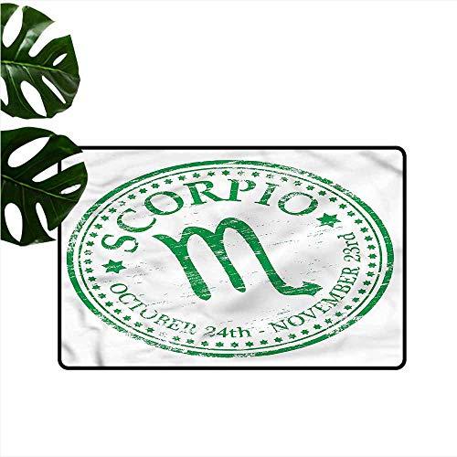 DONEECKL Non-Slip Door mat Zodiac Scorpio Grunge Stamp Personality W20 xL31