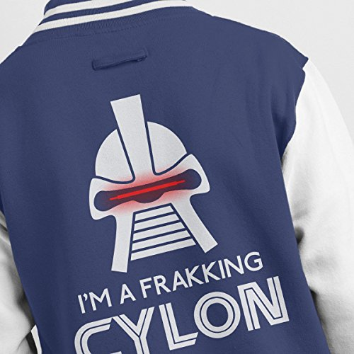 Frakking white Cylon Navy Jacket Battlestar Varsity Galactica Men's rwrxqUPF0