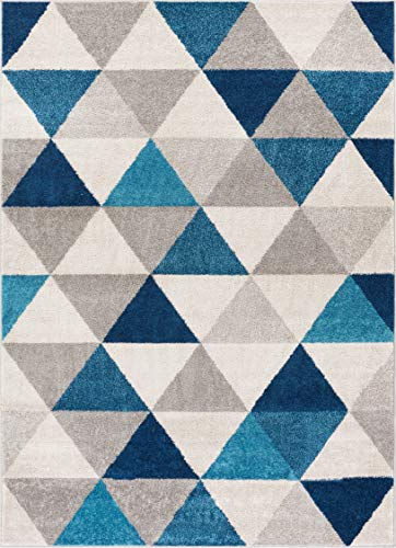 Well Woven Isometry Blue & Grey Modern Geometric Triangle Pattern 5' x...