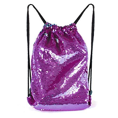 seeknfind Mermaid Sequin Bag Reversible Sequin Drawstring Backpack Glitter Bag for Girls (purple-dark blue)