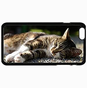 Customized Case Back For Iphone 6 Plus 5.5 Inch Hard Cover Personalized Cat Lying Rocks View Watch Black BY supermalls