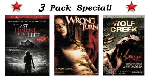 3 Pack Special!! The Last House On The Left (Widescreen Unrated 2 Versions: Unrated & Theatrical), Wrong Turn (Widescreen and Full Screen Versions) and Wolf Creek (Widescreen Unrated -