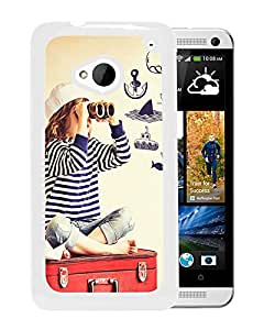 New Beautiful Custom Designed Cover Case For HTC ONE M7 With Look Out Cute Sailor Girl (2) Phone Case