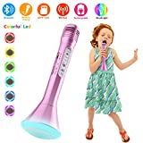 Wireless Karaoke Microphone, Bluetooth Handheld Karaoke Machine with Speaker Mic Party KTV Home Mike Systems, Portable Led Music Singing Equipment for IPhone/Android/IOS/Smartphone Kids Adults