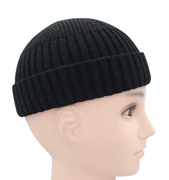 a1f42737338 Clecibor Unisex Rollup Edge Knit Skullcap Soft Stretchy Autumn Winter Knit  Short Beanie for Men Women