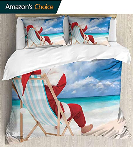 Santa Home Duvet Cover Set,Santa on a Chair Near the Sea Exotic Beach Relaxing Summer Vacation Resting Print Quilt Cover Set White Queen Pattern Bedding Collection 79
