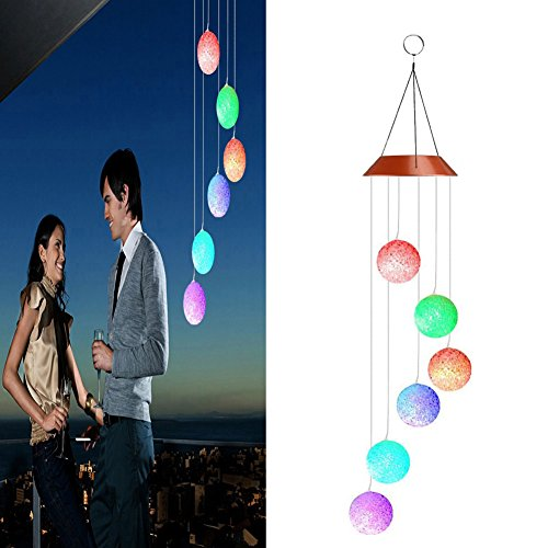 XHSP Solar-powered Wind Chime Color-Changing Solar Powered LED Hanging Lamp Waterproof Spiral Spinner Wind Bell for Yard Garden Home Decor Valentines Gift by XHSP