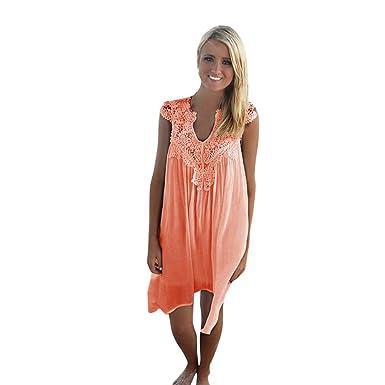 03405443c HGWXX7 Women's Dress Casual Loose Sleeveless Party Beach Chiffon Lace  Openwork Mini Dress Skirt X-
