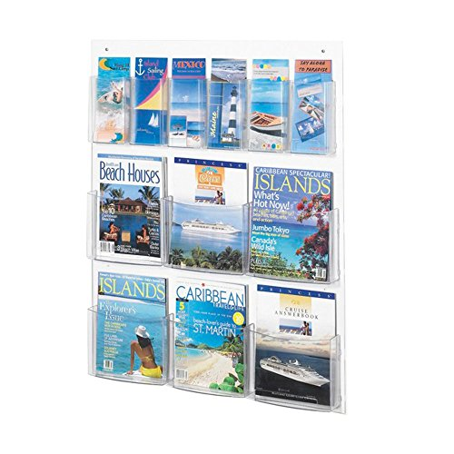 Clear2c 6 Magazine and 6 Pamphlet Display Clear electronic -