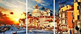 3D METAL Wall Art Ready to Hang Amazing Venice On Sunset. View Of Grand Canal. 3 Wall Panels 14 x 33 Uniqu Art Décor