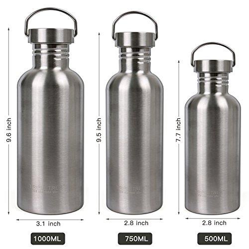 Botella de Agua Acero Inoxidable 500ml / 750ml / 1l BPA Free Botella Deportiva Para Viaje, Bicicleta, Camping